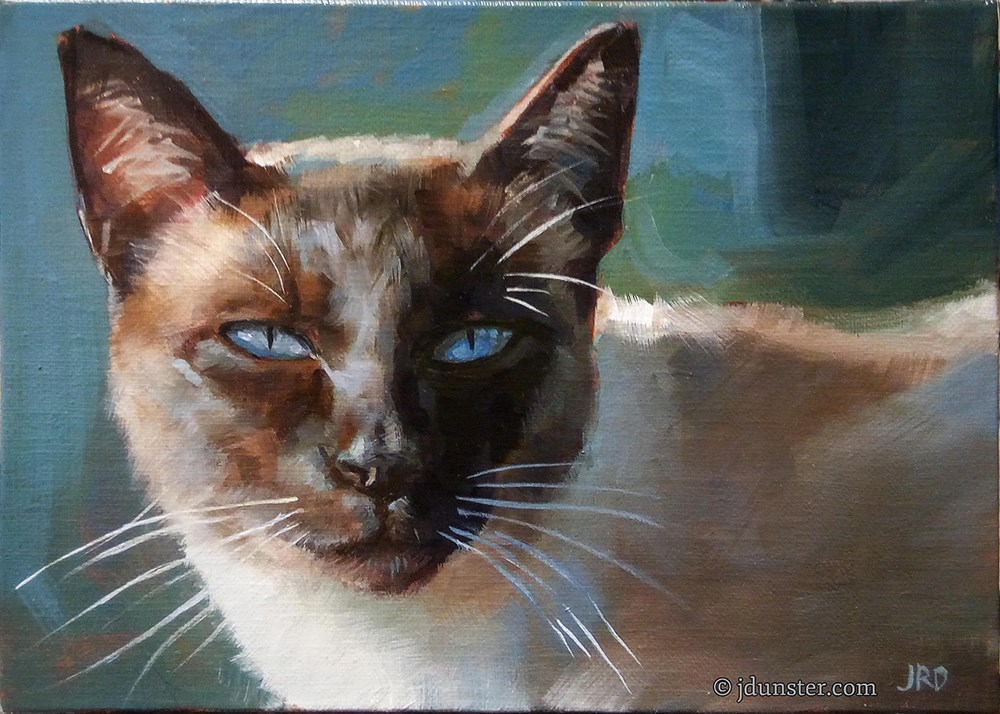 """""""Siamese in Blue and Green"""" original fine art by J. Dunster"""