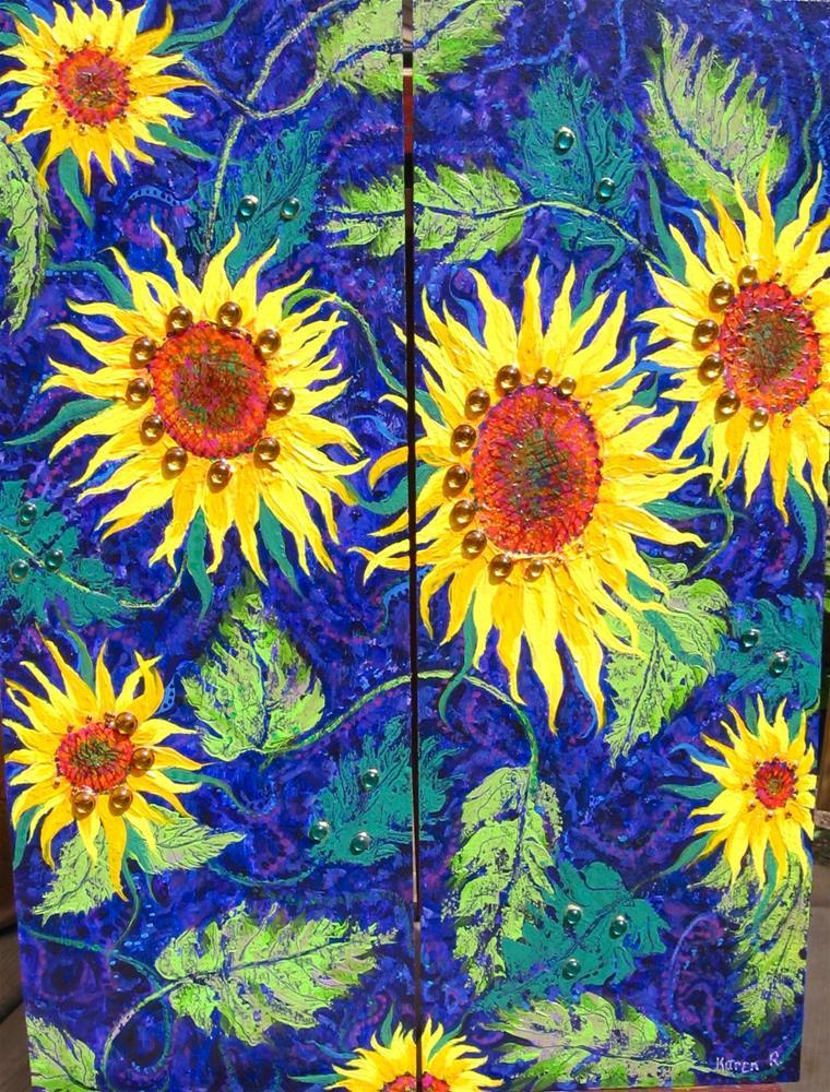 """""""Sunflower Twins"""" original fine art by Karen Roncari"""