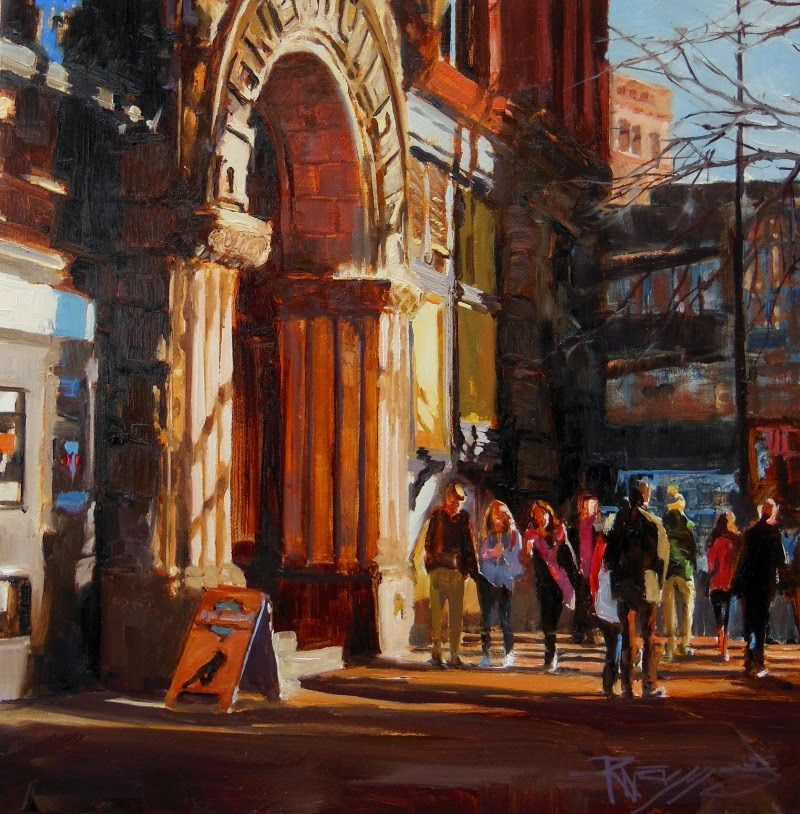 """""""The Underground Tourists  Seattle cityscape by Robin Weiss"""" original fine art by Robin Weiss"""