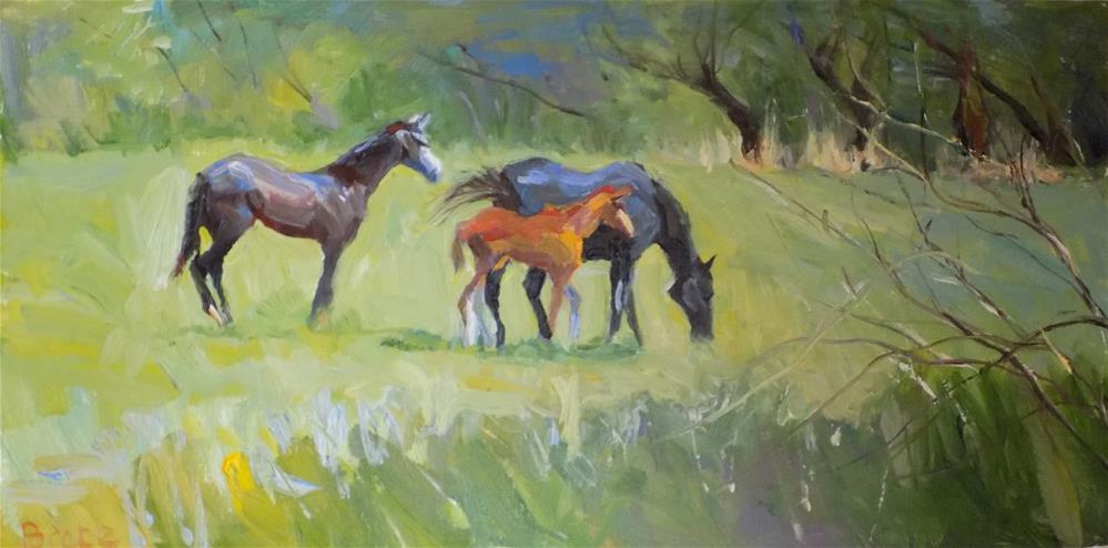 """""""Harrah Road Horses"""" original fine art by Rita Brace"""