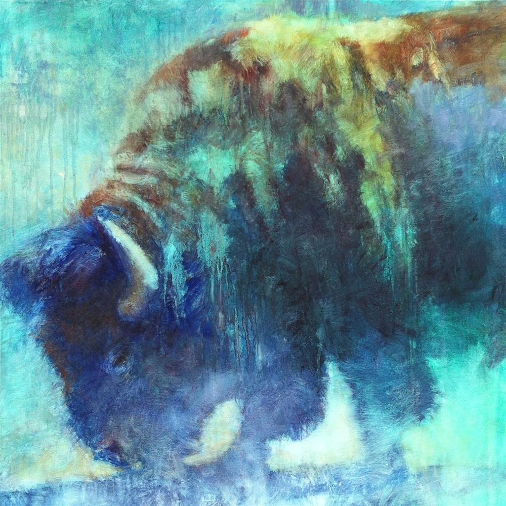 """""""Blue Bison and Upcoming Events"""" original fine art by V.... Vaughan"""