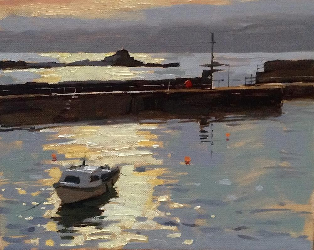 """Silver light at Mousehole"" original fine art by Haidee-Jo Summers ROI"