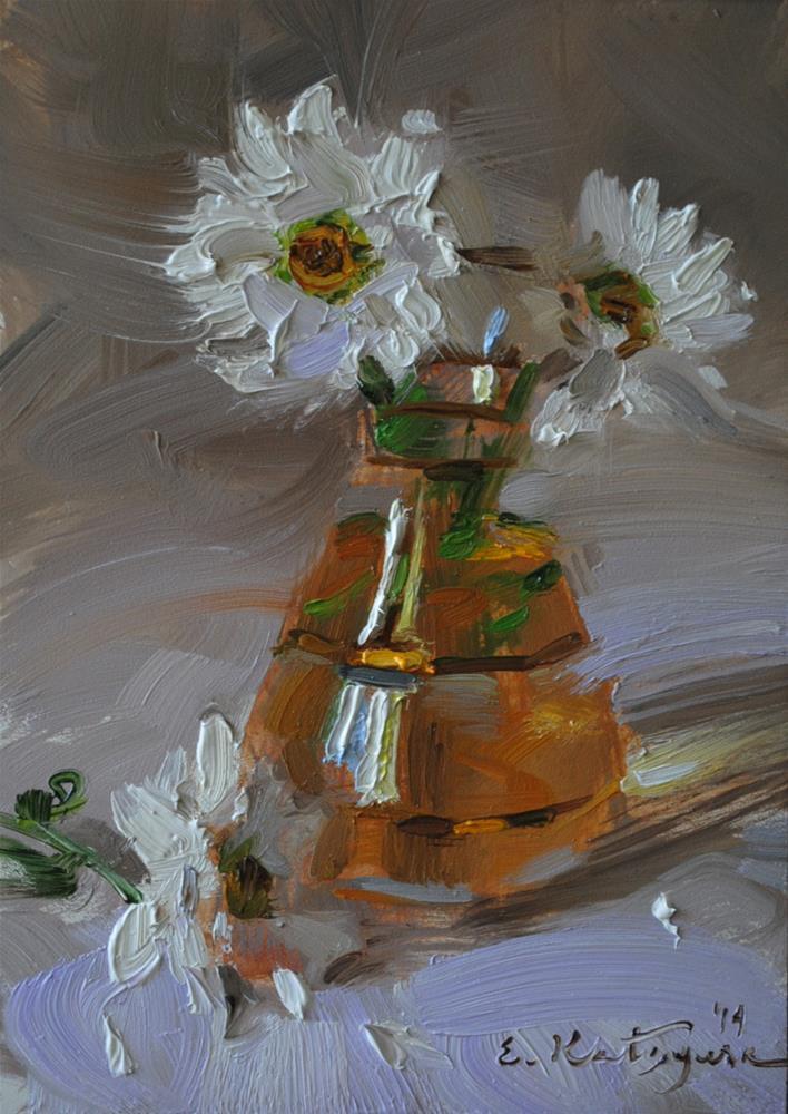 """""""Daisies in a Vase"""" original fine art by Elena Katsyura"""