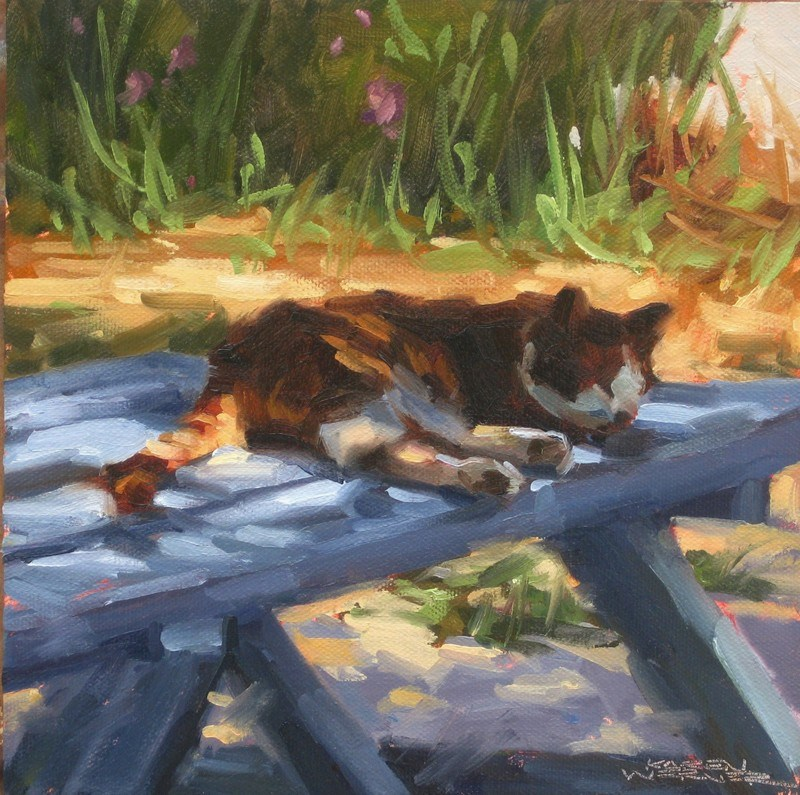 """Cat Nap"" original fine art by Karen Werner"