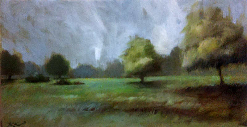 """WIndy Day at the Park"" original fine art by Bob Kimball"