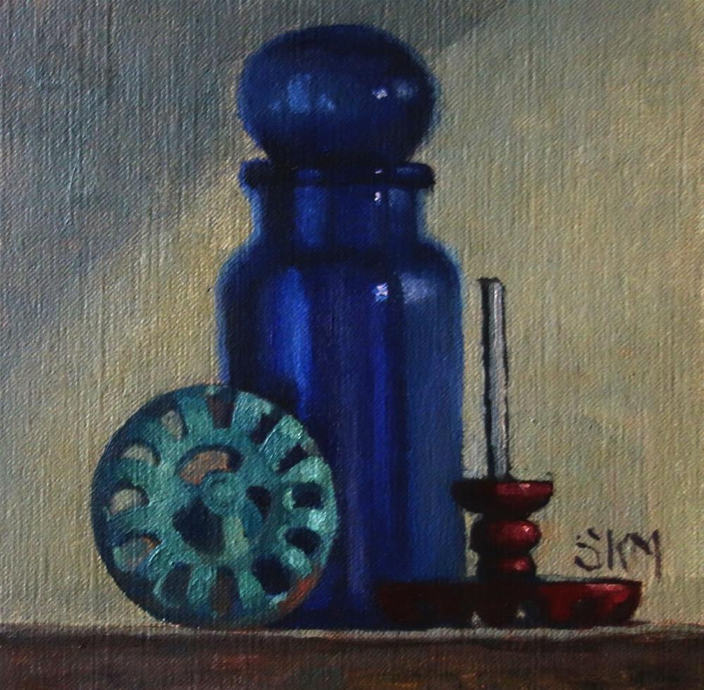 """""""Blue bottle, old faucets:  a still life"""" original fine art by Sarah Meredith"""