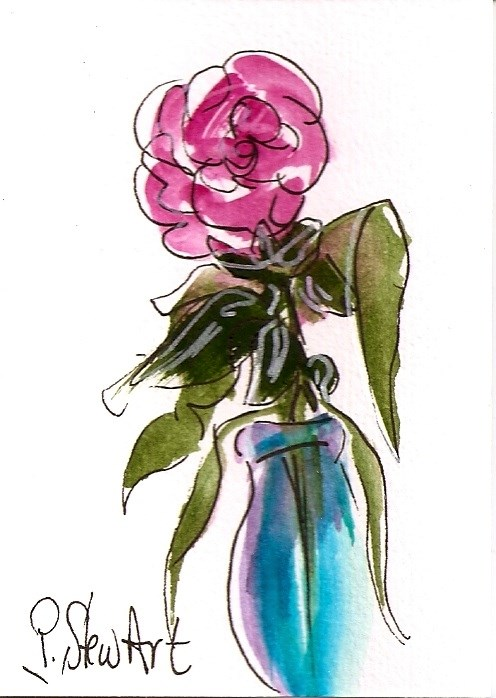 """""""ACEO A Simple Rose in a blue vase Watercolor and Pen, Original Art"""" original fine art by Penny Lee StewArt"""