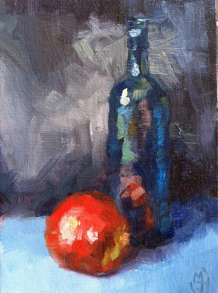 """Apple and Bottle"" original fine art by Michael Williamson"