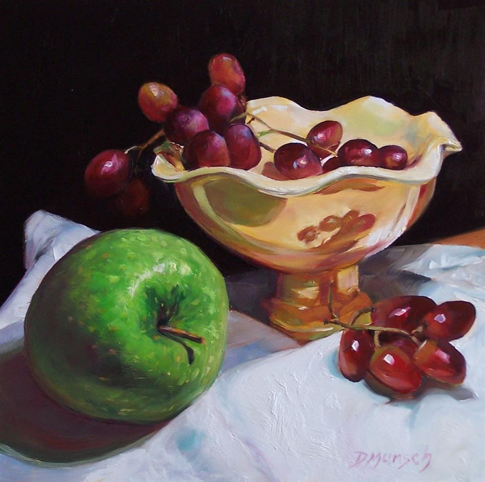"""""""Big Green Apple"""" original fine art by Donna Munsch"""