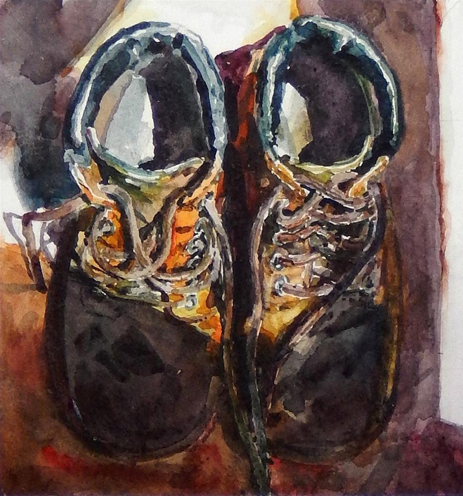 """""""Working Boots"""" original fine art by Stephen Ravenscraft"""