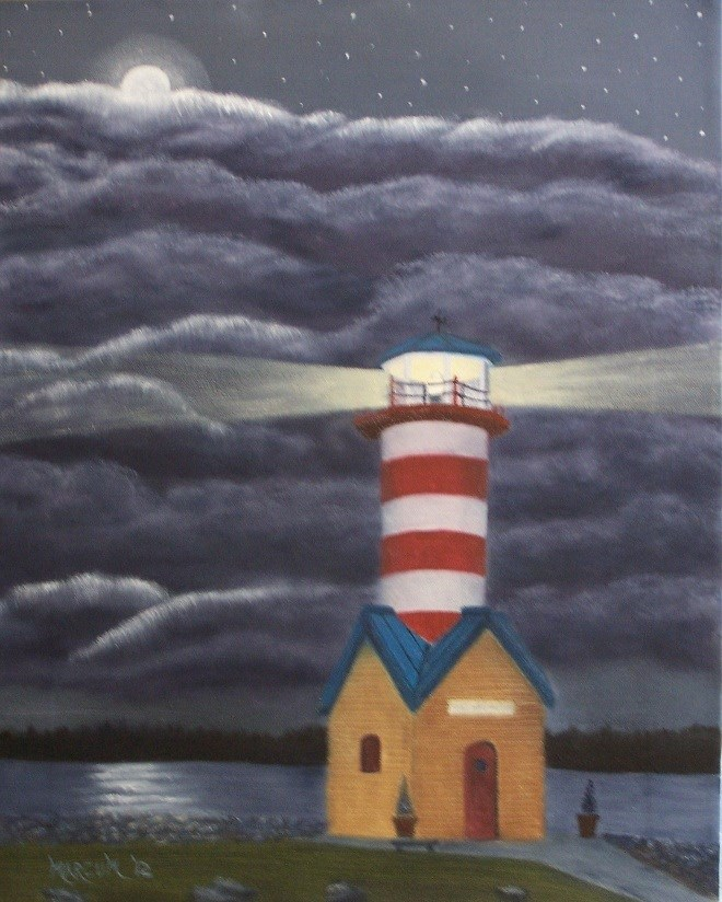 """Grafton lighthouse at night"" original fine art by John Marcum"