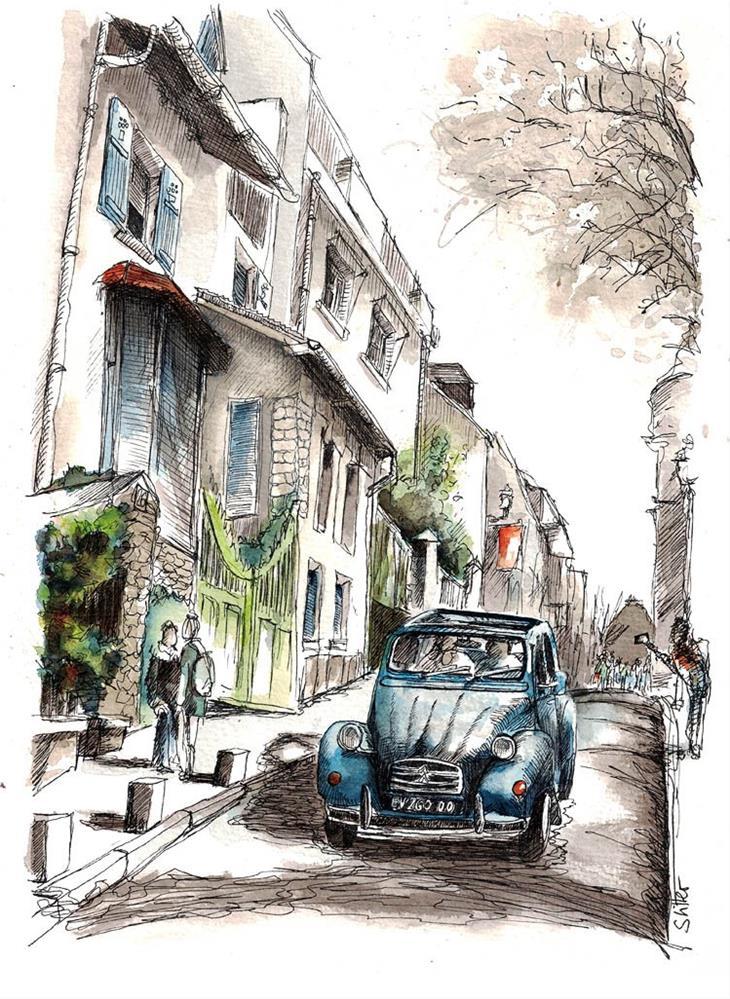 """""""3489 Montmartre 2CV4  (before and after)"""" original fine art by Dietmar Stiller"""