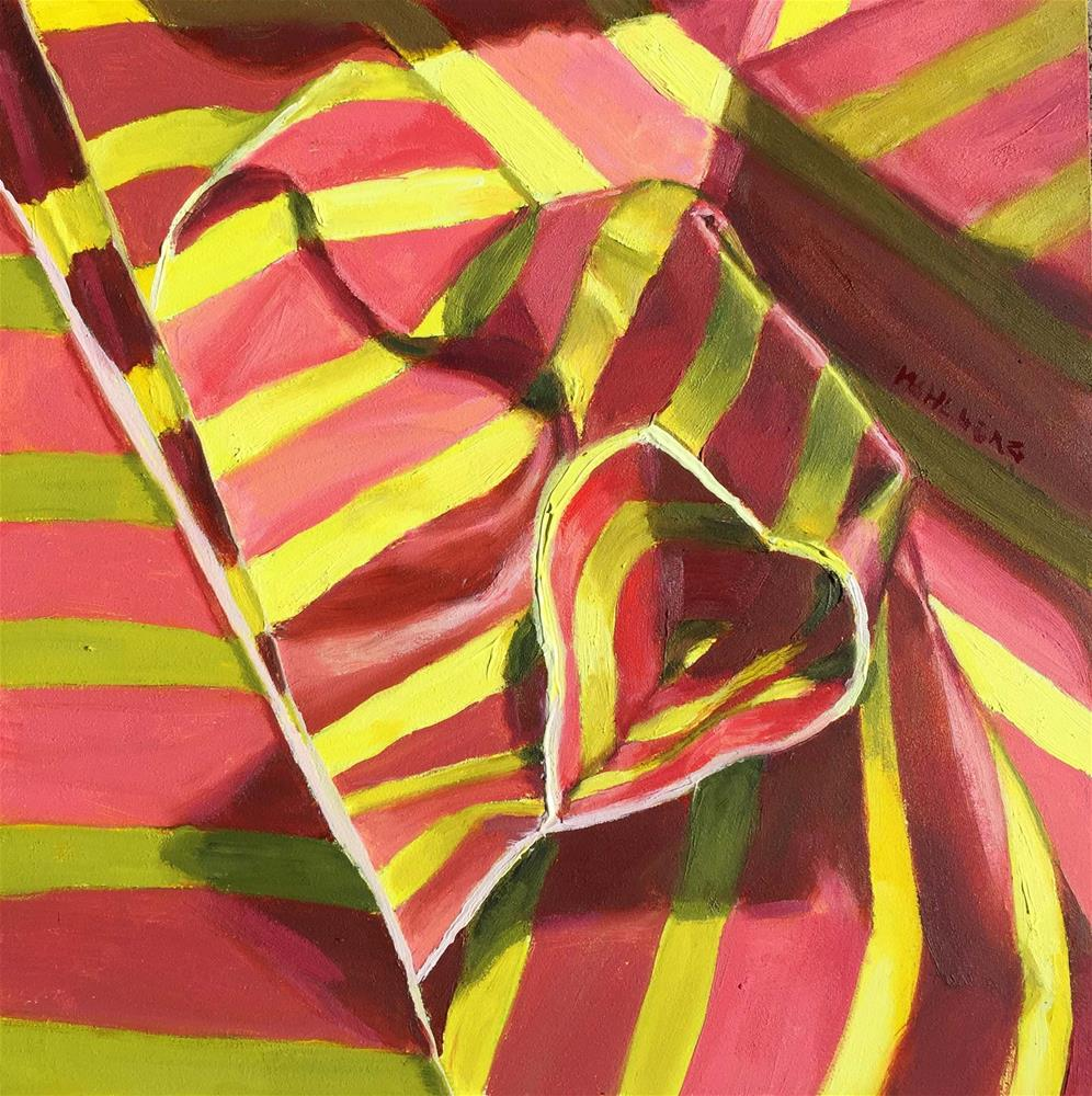 """""""Paper Stipes in Coral and Yellow"""" original fine art by Cynthia Mahlberg"""