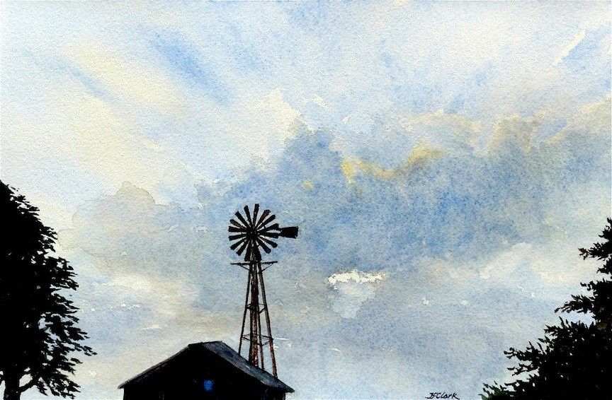 """Grateful for Rain"" original fine art by Judith Freeman Clark"