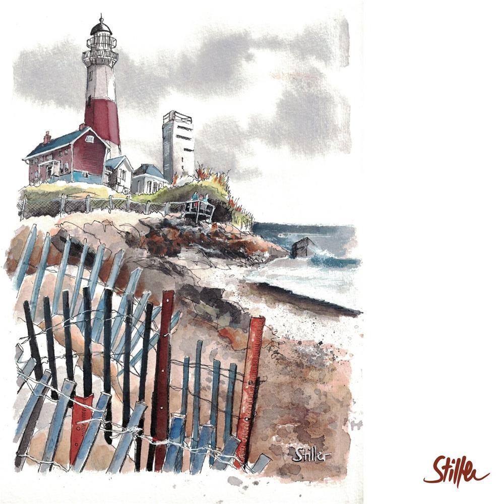"""3430 Lighthouse with Fence"" original fine art by Dietmar Stiller"