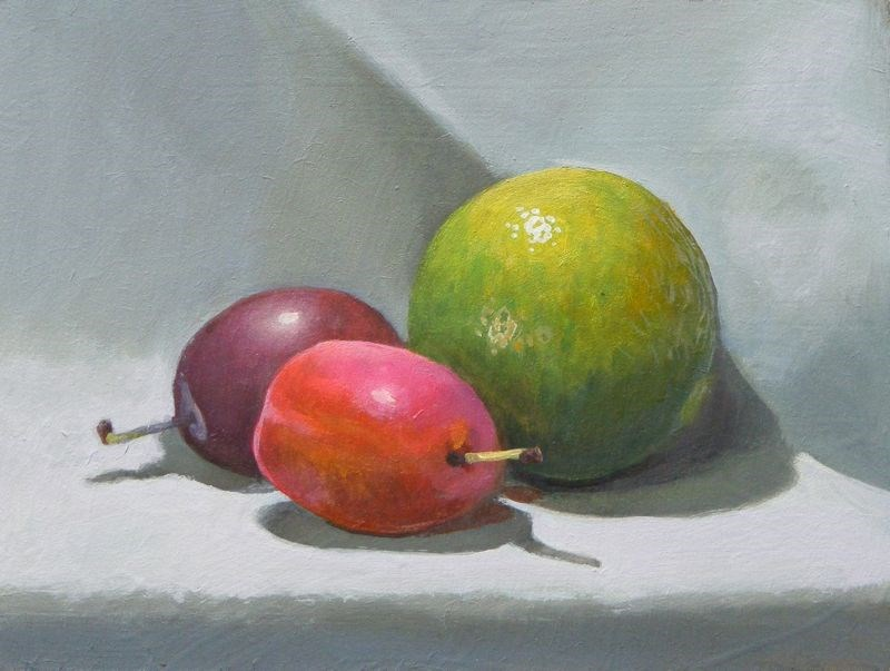 """Small plums large lime"" original fine art by Peter Orrock"
