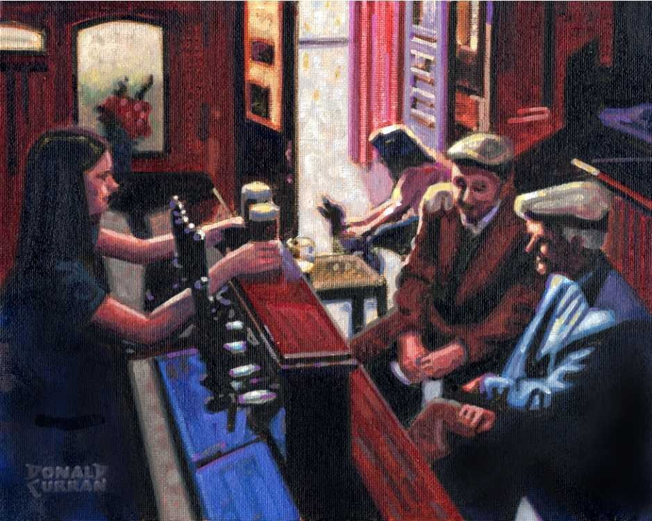 """Two Pints Please"" original fine art by Donald Curran"