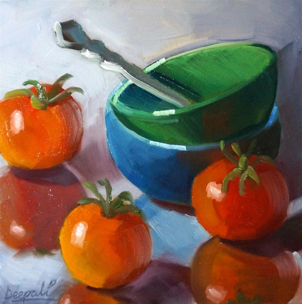 """""""Tomatoes and bowls"""" original fine art by Dipali Rabadiya"""