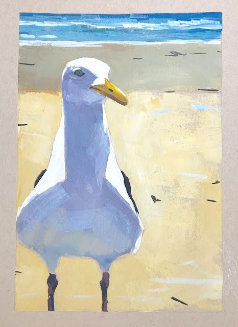 """Seagull - gouache 5x7"" original fine art by Sharon Schock"