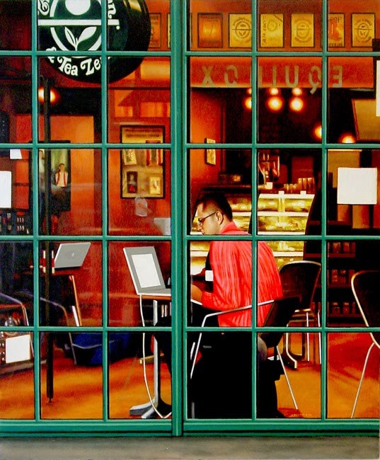 """Coffee Bean 2- Painting Of Man Working On Laptop In Coffee Bar"" original fine art by Gerard Boersma"