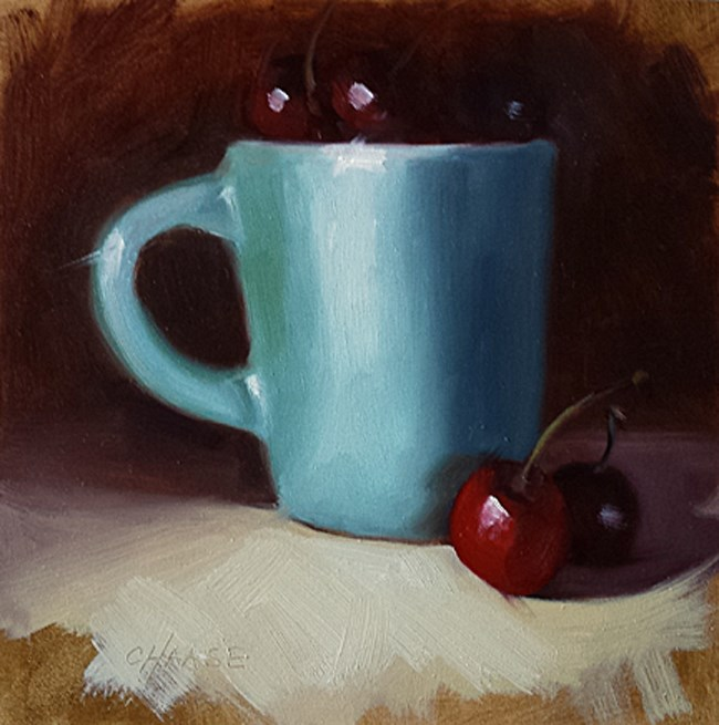 """""""Blue Cup and Cherries"""" original fine art by Cindy Haase"""
