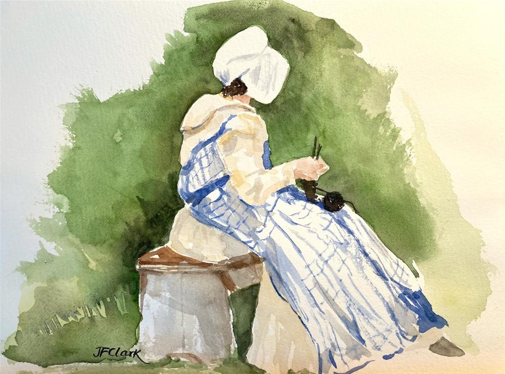 """Knitting, sketch"" original fine art by Judith Freeman Clark"