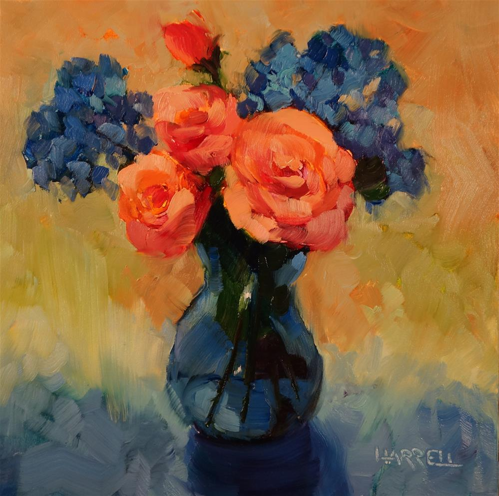 """""""Blue Vase With Roses"""" original fine art by Sue Harrell"""