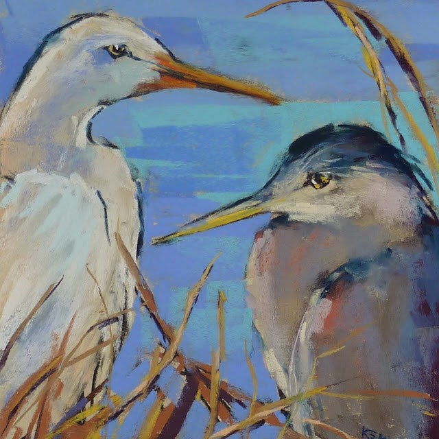 """""""Behind the Scenes: Painting a Heron and Egret"""" original fine art by Karen Margulis"""