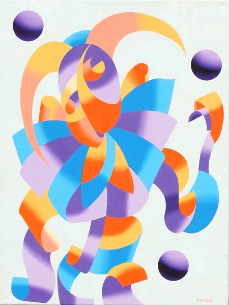 """""""Mark Webster - The Juggling Court Jester - Abstract Geometric Futurism Oil Painting"""" original fine art by Mark Webster"""
