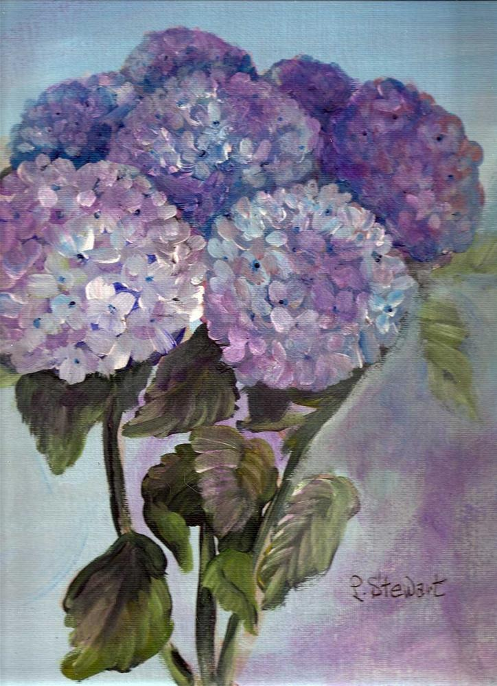 """""""9x12 Bouquet of Hydrangias, not in a pot, acrylic on canvas board"""" original fine art by Penny Lee StewArt"""