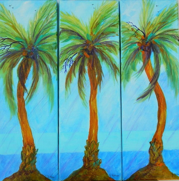 """Blue/Palm Trees Trip-Tic"" original fine art by Gloria Urban"