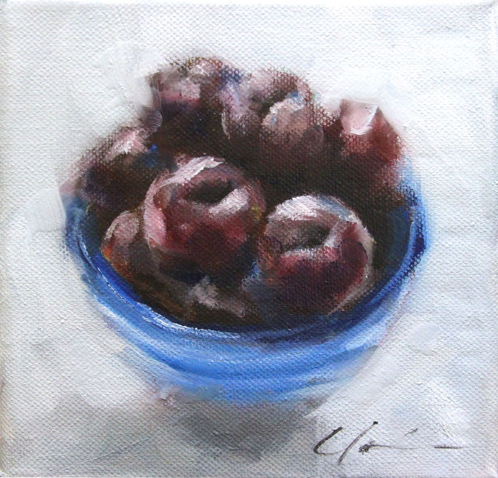 """Bowl of Plums"" original fine art by Clair Hartmann"
