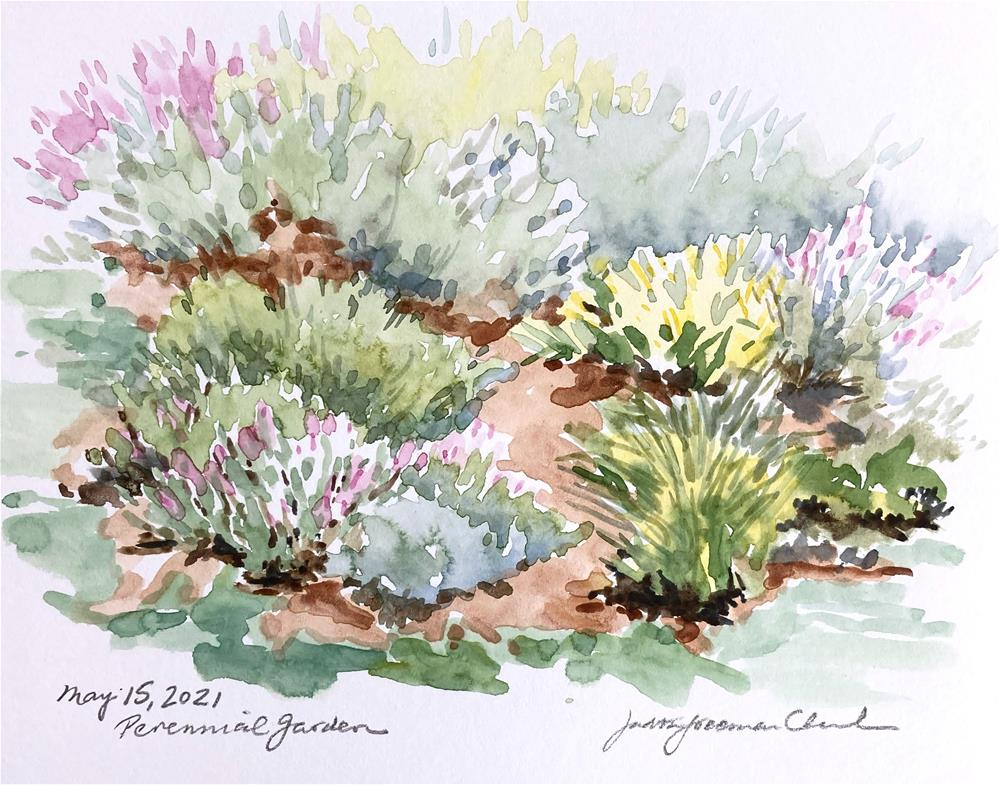 """Perennial Garden, sketch"" original fine art by Judith Freeman Clark"
