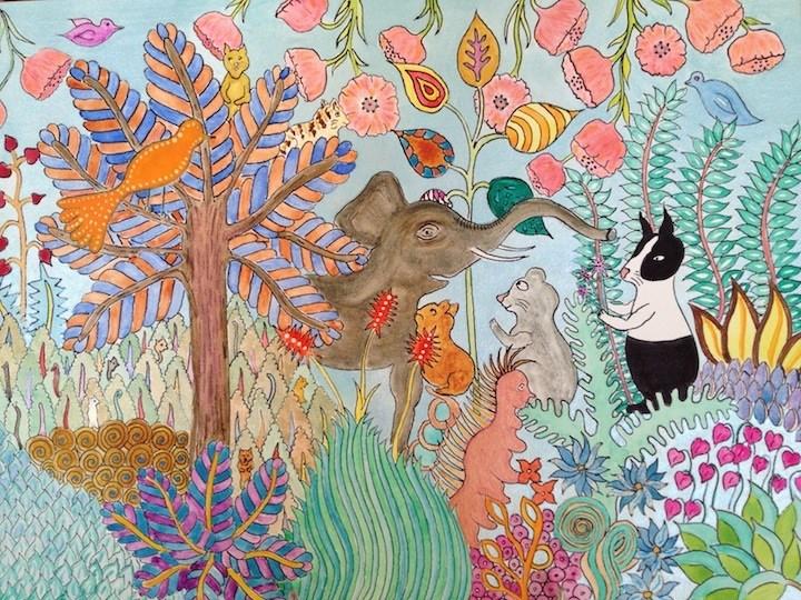 """Flower Jungle"" original fine art by Susan Medyn"