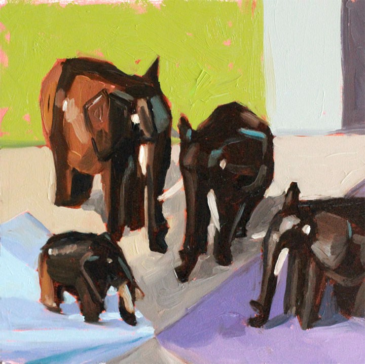 """""""Four Trunks, Thanks Ali!"""" original fine art by Nealy May Riley"""