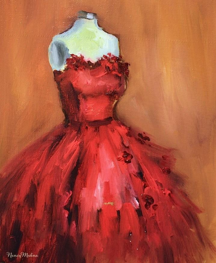 """Wild Thing:A Little Red Dress to Wear Around the Kitchen by Nancy Medina"" original fine art by Nancy Medina"