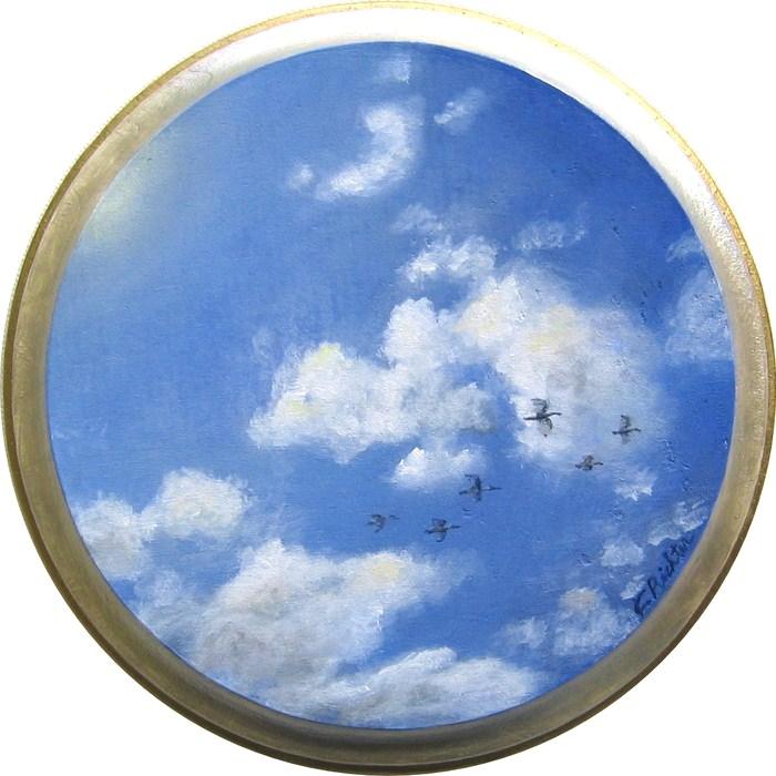 """Skyscape - Heron"" original fine art by Keiko Richter"