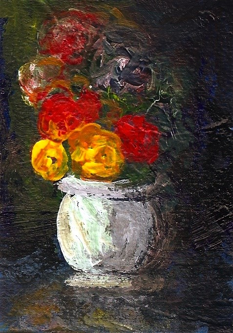 """ACEO Yellow + Red Roses White Vase Impressionist Painting SFA Penny StewArt"" original fine art by Penny Lee StewArt"