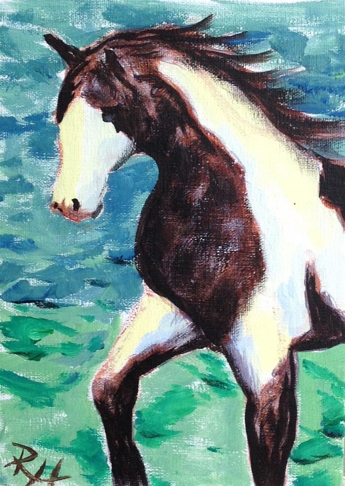"""Pretty Prancing Paint"" original fine art by Rachel  Holland"