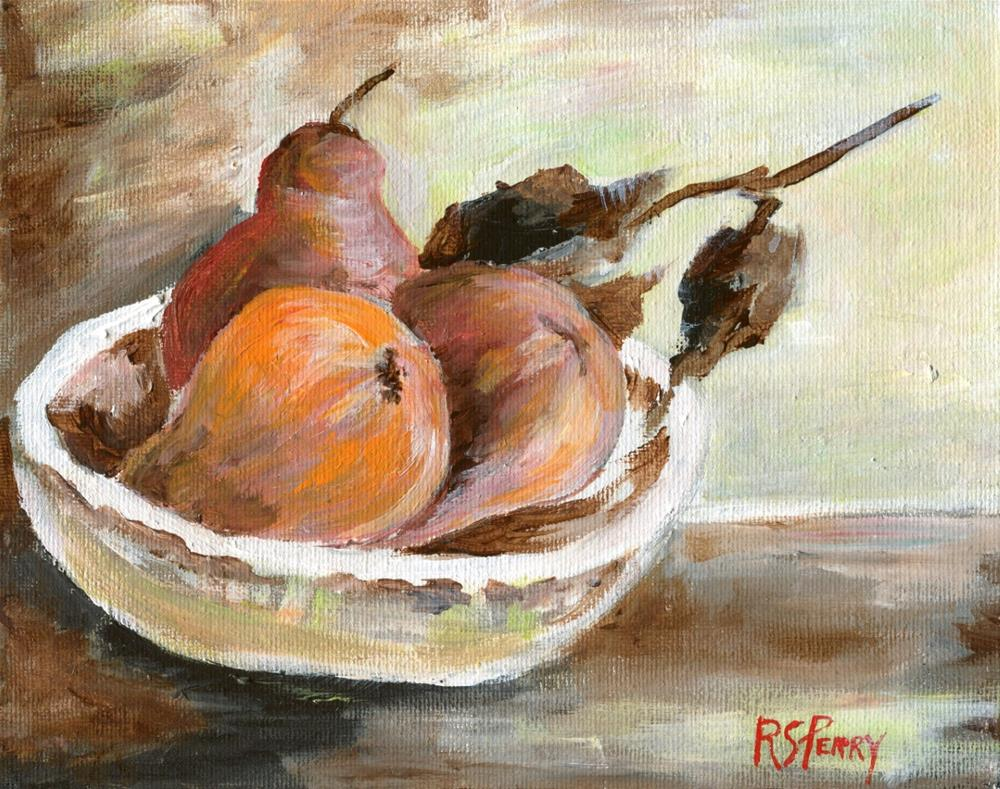 """Three  Pears in a Bowl"" original fine art by R. S. Perry"