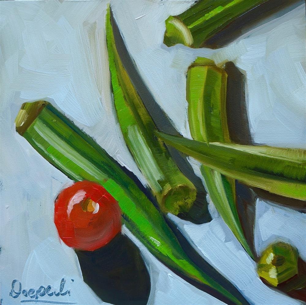 """Okra with tomato"" original fine art by Dipali Rabadiya"