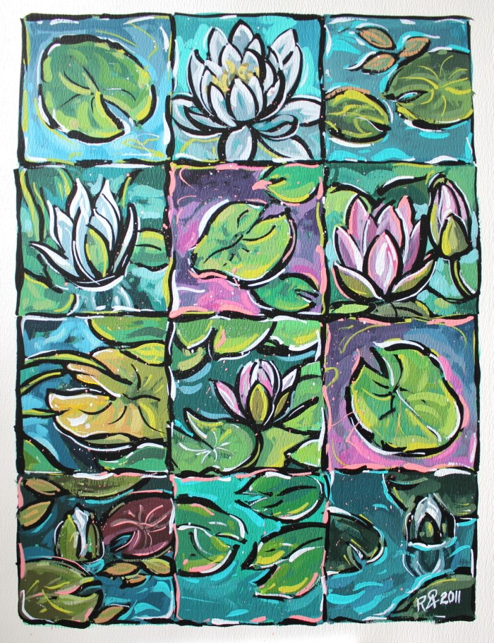 """""""12 squares of waterlily fun 2"""" original fine art by Roger Akesson"""