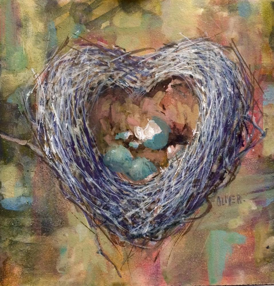 """Valentine Nest - gouache."" original fine art by Julie Ford Oliver"