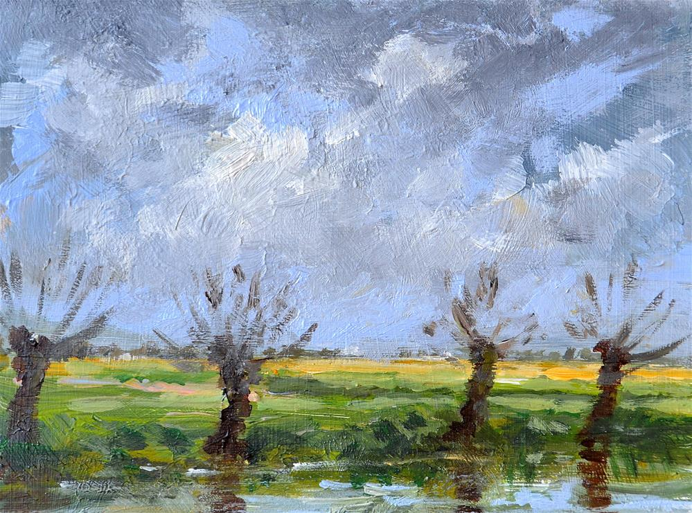 """Willows in the polder December 2015"" original fine art by Wim Van De Wege"