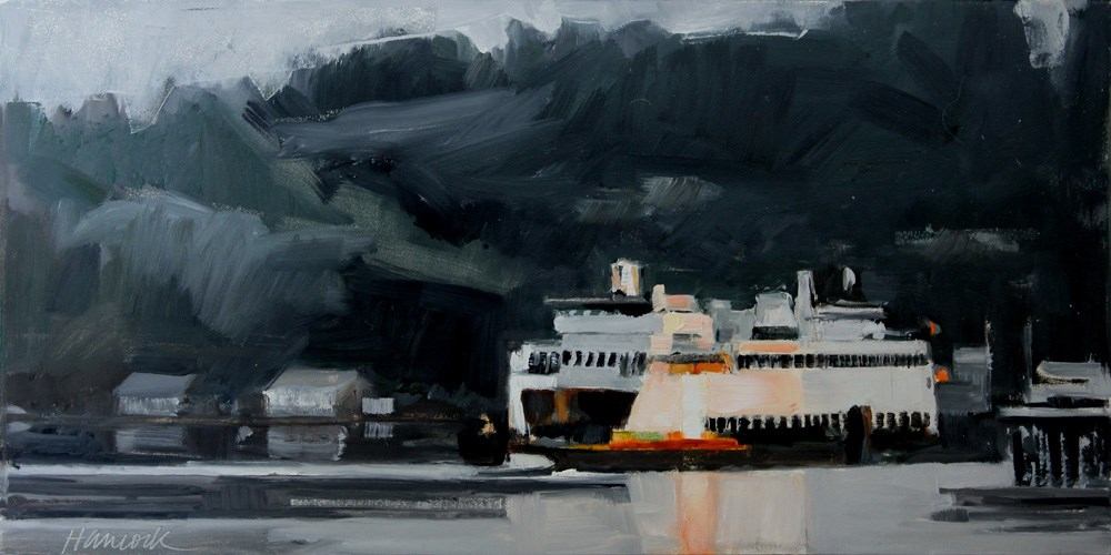 """Sunset Ferry on Dark Gray Green"" original fine art by Gretchen Hancock"