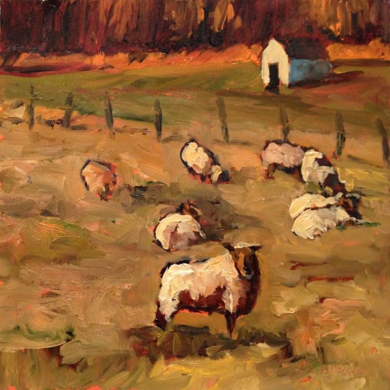 """,Sheep on Carroll Road III, Day 44"" original fine art by Claudia L Brookes"