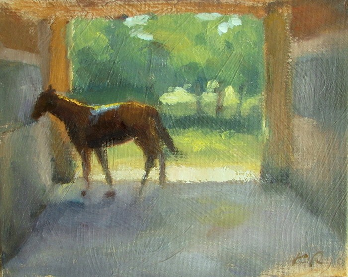 """In a Stable"" original fine art by Keiko Richter"