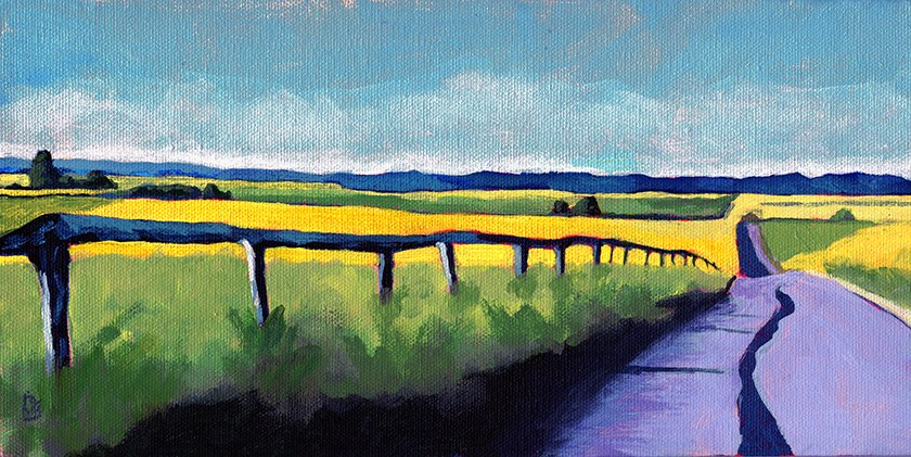 """Road Trip landscape acrylic painting"" original fine art by Ria Hills"