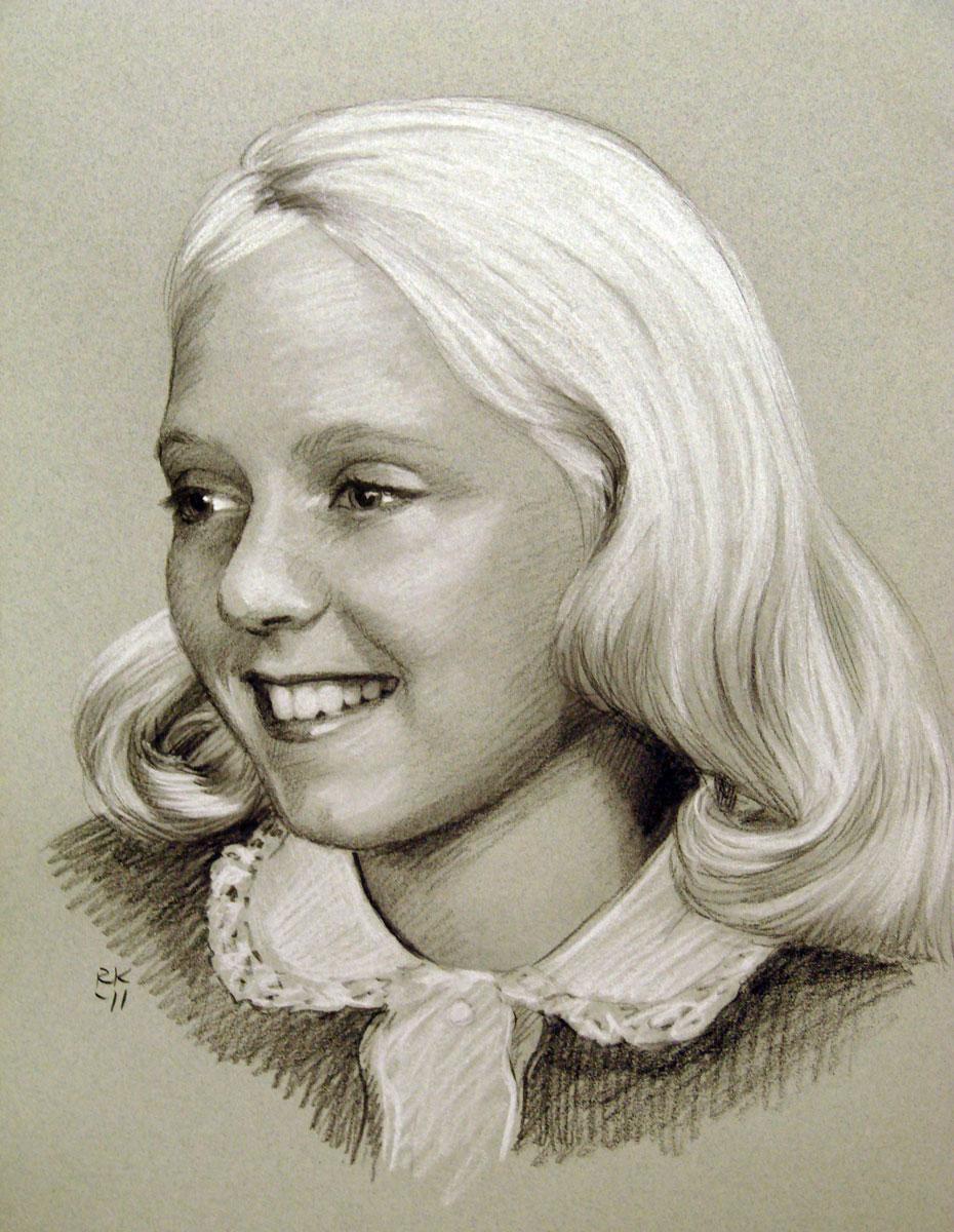 """""""Little Sister - A Portrait Commission"""" original fine art by Rita Kirkman"""