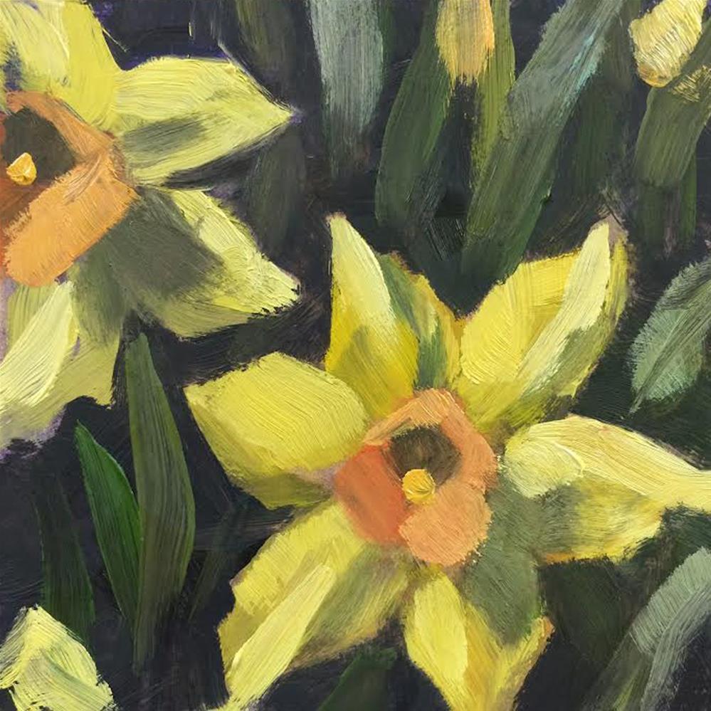 """Daffodils (Tiny Flower Paintings)"" original fine art by Elaine Juska Joseph"